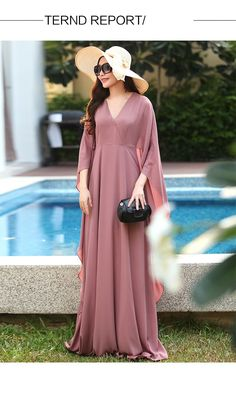 895af289da8b7 US $44.99 |Aliexpress.com : Buy WBCTW High Waist WomenPlus Size Long  Chiffon Flare Butterfly 2/3 Sleeve Maxi Dresses Vintage Summer Autumn  Vestido De Festa ...
