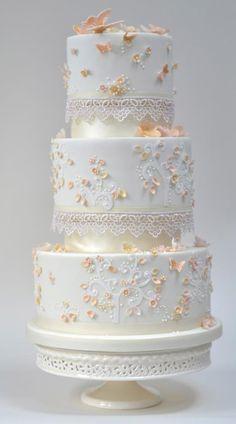 Peach butterflies cake