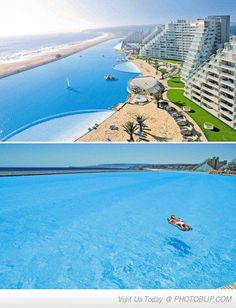 Visit the worlds largest pool in Algarrobo, Chile... looks amazing!