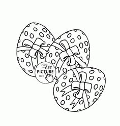 Easter Eggs with Bows coloring page for kids, coloring pages printables free - Wuppsy.com