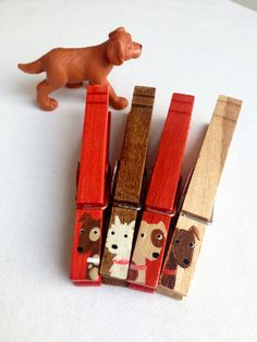 DOG CLOTHESPINS red and brown hand painted magnets by SugarAndPaint on Etsy