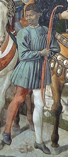 Benozzo Gozzoli - Il viaggio dei Magi: il corteo del Magio Baldassare (dett.) - affresco - 1459-1461 - Cappella dei Magi - Palazzo Medici Riccardi Firenze