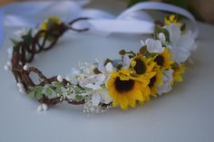 Sunflower Flower Crown Rustic Bridal Halo by BohoHaloCompany