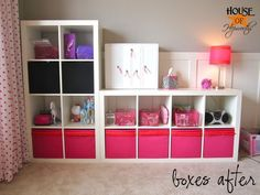 Expedit with cute DIY boxes:  House of Hepworths
