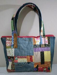 Jean Purses, Denim Purse, Patchwork Bags, Fabric Bags, Cute Bags, Handmade Bags, Tote Handbags, Creations, Reusable Tote Bags