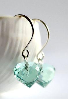 Teal stone earrings silver aqua stone earrings