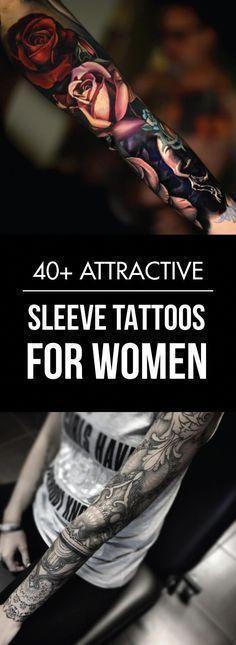 40+ Attractive Sleeve Tattoos for Women #tattoosforwomen