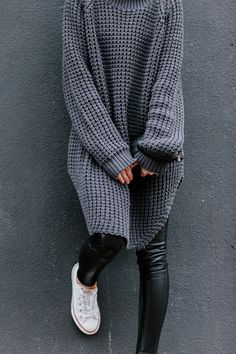 oversized cozy knit, leather leggings converse kick #stye #fashion