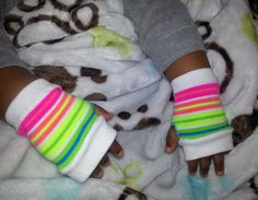 Toddler striped mittens Girls toddler hand warmers by EleshaAndrea