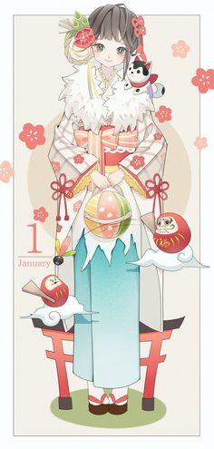 January, happy new year Anime Chibi, Kawaii Anime, Manga Anime, Chibi Kawaii, Loli Kawaii, Manga Art, Anime Kimono, Anime Angel, Anime Girl Cute
