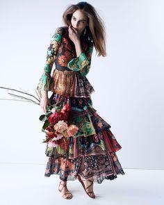 Valentino Patchwork-Print Ruffle-Tiered Dress