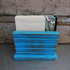 Napkin Holder Turquoise Distressed Wood by turquoiserollerset, $11.00