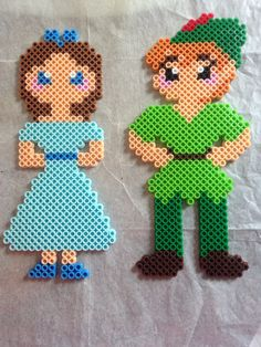 Disney Wendy and Peter from Peter Pan perler beads
