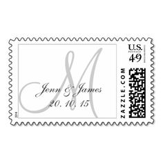 Monogrammed Wedding Date Bride Groom Postage