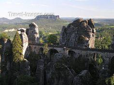Germany - Saxony - Bastei: Bridge over Elbe River and vertical sandstone rock formations