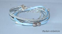 Bracelet multi rangs ruban satiné bleu et perles argentées - Emile
