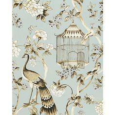 Oiseaux et Fleurs Mineral Wallpaper @Layla Grayce