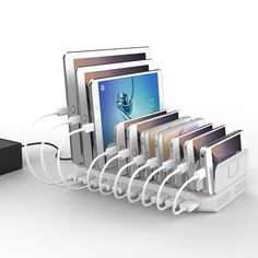 Amazon.com: [PowerPort 96W/2.4A Max] UNITEK 10-Port USB Charger Charging Station for Multiple Device with SmartIC Tech, Organizer Stand for Apple iPad iPhone Samsung Galaxy Google Nexus LG HTC: Cell Phones & Accessories