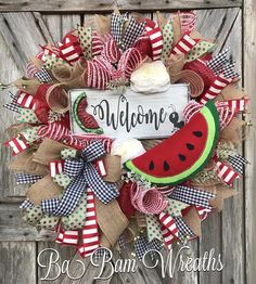 Summer Wreath Summer Decor Summer Door Watermelon Wreath wreaths for front door Welcome Signs Front Door, Front Door Decor, Wreaths For Front Door, Door Wreaths, Door Signs, Felt Wreath, Diy Wreath, Wreath Ideas, Easter Wreaths