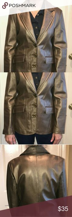 Worthington genuine lambskin Blazer Authentic lambskin Blazer in excellent condition comes from a smoke-free home period color is sorta like a bronze pewter very pretty goes with everything Worthington Jackets & Coats Blazers