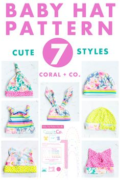 Baby Hat PFD Sewing Pattern - 7 Adorable Options! Baby Hat Knitting Pattern, Hat Patterns To Sew, Baby Hats Knitting, Sewing Patterns For Kids, Sewing For Kids, Baby Patterns, Sewing Ideas, Sewing Tips, Sewing Tutorials