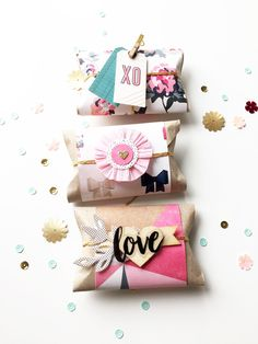 MINI PACKAGES - For a unique and beautiful DIY party favor, pick up kraft cardstock and other…
