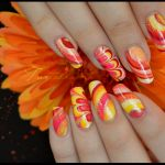 Mixed colors orange, white, pink and yellow nail design