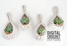 DIY Crochet Pattern / Hanging Basket Pattern / Succulent Planter Pattern / Air Plant Holder Pattern / Crochet Basket Pattern / Crochet Pod - All For Garden Diy Crochet Patterns, Crochet Basket Pattern, Pdf Patterns, Crochet Baskets, Crochet Designs, Hanging Planters, Hanging Baskets, Diy Hanging, Chenille Plant