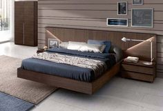 Floating Modern Wooden Bed Frame with Bedside Table