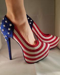 b61d3f896c7c Alba Womens Platform Pump Crystal Rhinestone American Flag Stilleto High  Heels  Alba  PlatformsWedges