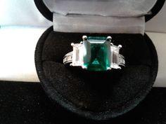 PRINCESS LCS  EMERALD & DIAMOND  WEDDING ENGAGEMENT RING SZ 7 sz 8 sz 9  #EXCEPTIONALBUY #WithDiamonds