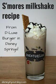 S'mores milkshake recipe - a gelato milkshake recipe from D-Luxe Burger in Disney Springs! Disney in your Day