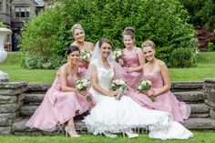 wedding photos, bride with her bridesmaids at The Maes Manor Hotel, South Wales.