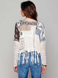A bit of blue - a bit of brown, encased in classic cream - perfect.  Could be in silk or viscose prints (hang well) put with recycled lace blouses.  Patches can be added onto lace tops, patched lace, over boob area and shoulders for cosy feel and smart appearance.