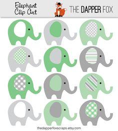 Verde y gris elefante Clip Art - descargar INSTANT - elefantes de imágenes prediseñadas de ducha del bebé