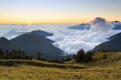 Taiwan: Taroka National Park, Sunset at Hehuan Mountains, Nantou.