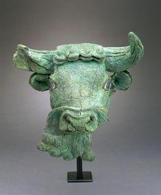 Copper Bull's Head with Lapis Lazuli Eyes. Sumerian. 27th c. B.C.