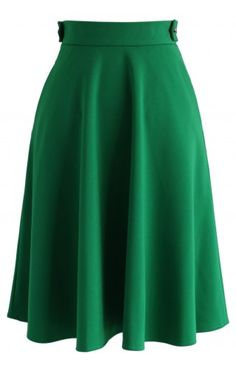 Basic Full A-line Skirt in Emerald Green - Bottoms - Retro, Indie and Unique Fashion