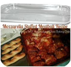 "Mozzarella Stuffed Meatball Recipe - baked in a Personalized 9x13"" Glass Baking Dish."