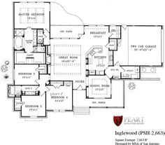 Single Story Open Floor Plans | Inglewood 1 Story Home Floor Plan   Custom  Home Building