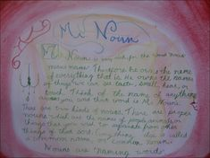 Waldorf ~ 4th grade ~ Grammar ~ Mr. Noun ~ main lesson book