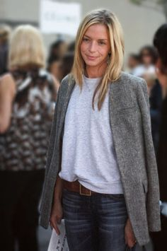 LE CATCH: The Gray Sweatshirt. It's so easy and comfortable--the beauty of a basic--and best when deftly paired with more polished pieces (lest you look slovenly), like a long tailored blazer (demonstrated above), layered over a silk or print button-up blouse, or teamed with a metallic pencil skirt.