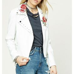 Rose Embroidered Moto Jacket