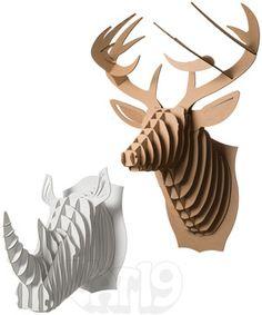 Cardboard Safari Animals: DIY Wall Trophy made from recycled cardboard