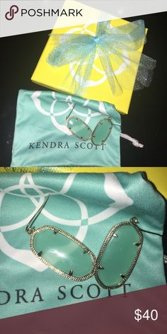 teal transparent w/ gold Kendra Scott earrings In perfect condition with box and bag! Elle size! I CAN SHIP OUT TODAY!! Kendra Scott Jewelry Earrings