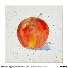 Red Gala Apple Fruit Watercolor Painting Art Poster