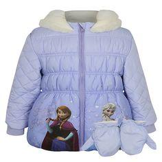 Girls Licensed Disney Frozen Elsa & Anna Padded Coat With Mittens
