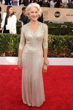 Helen Mirren opted for one of Kate Middleton's favourite designers - Jenny Packham.