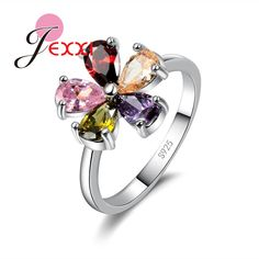 PATICO Full Size 5/6/7/7.5/9 925 Sterling Silver Bridal Wedding Rings Jewelry Women Mix Color Water Drop Rhinestone Finger Rings