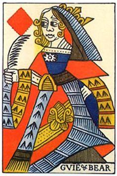 Antique French Playing Card äó¢ Queen of Diamonds äó¢ Circa 1740 äó¢ No. 144-C